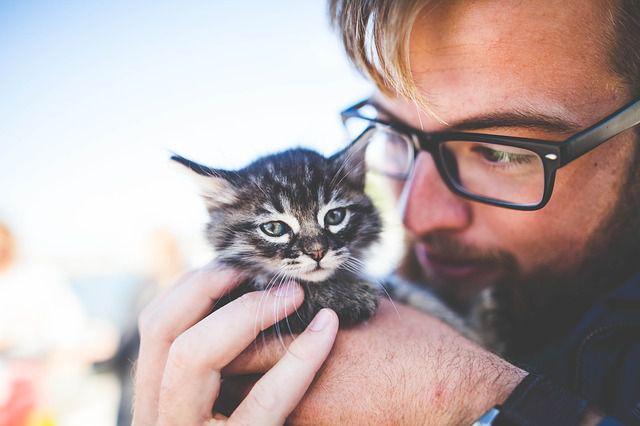 愛猫だっこ男性